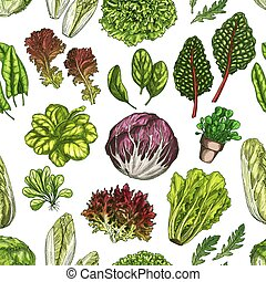 Salad leaves and herbs seamless pattern background - Salad...