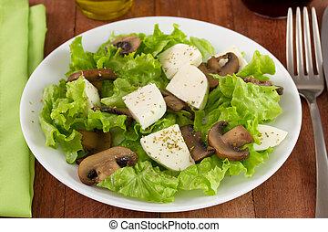 salad mushrooms with cheese mozzarella