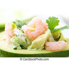 salad., nahaufnahme, avocado, bild, garnelen