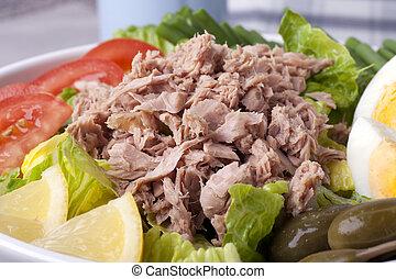 Salad Nicoise Close Up - Close up of a salad Nicoise with...