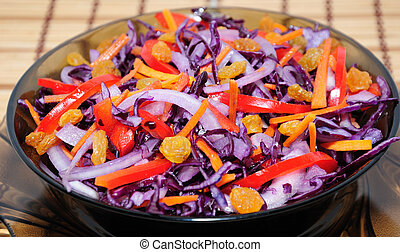 Salad of blue cabbage