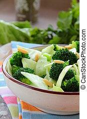 salad of broccoli with walnuts