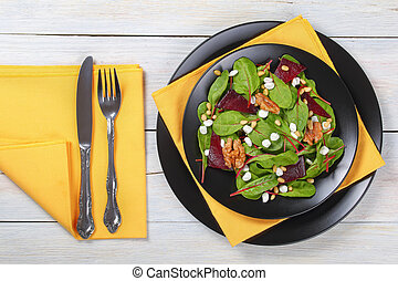 salad of chard, cottage cheese, beetroot
