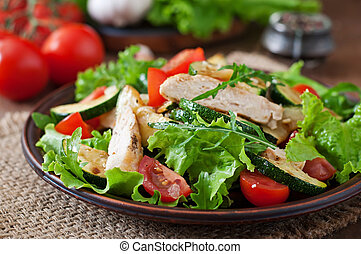 Salad of chicken fillet with zucchini and cherry tomatoes.