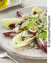 Salad of Chicory Walnuts and Apple with Roquefort...