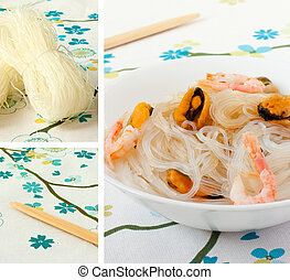salad of chinese rice noodles and seafood. Collage