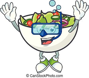 Salad of diving character in the cartoon