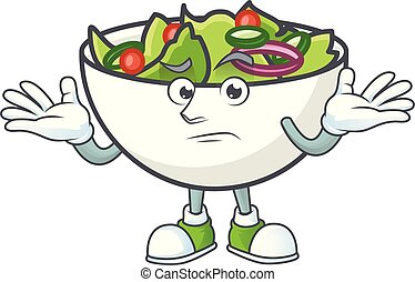 Salad of grinning character in the cartoon