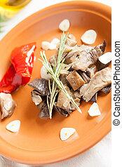 Salad of marinated roast mushrooms