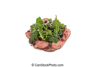 Salad of meat and greens close-up on a white background