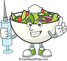 Salad of nurse character in the cartoon