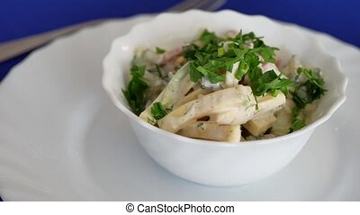 salad of potatoes and cheese with dill and onions. Tasty...