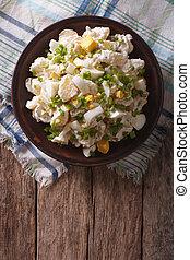 Salad of potatoes, eggs, green onions and mayonnaise....