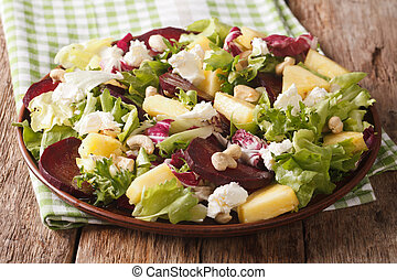 salad of roasted beets, fresh pineapple, cream cheese,...