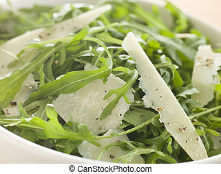 Salad of Roquette Leaves and Parmesan Shavings with Olive...