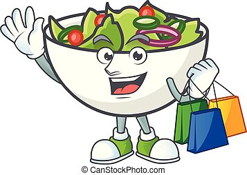 Salad of shopping character in the cartoon