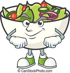 Salad of smirking character in the cartoon