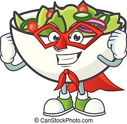 Salad of super hero character in the cartoon