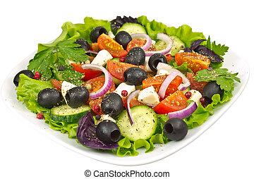 salad, olives, basil, onion, tomato and mozzarella