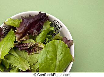Salad on a Green Background