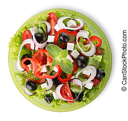 Salad on a green plate