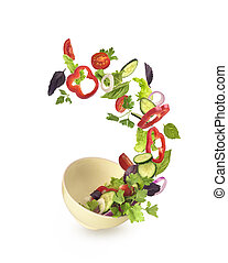Salad on a plate on a white background