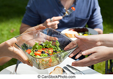 Salad on garden party