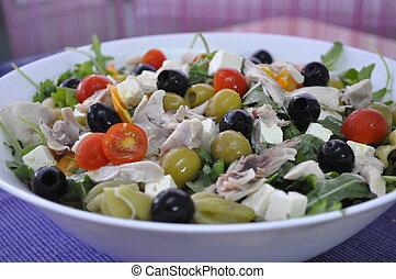 Salad pasta and black olives