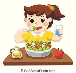 salad., peu, amour, vegetables., elle, girl, manger, heureux