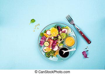 salad., platte, gemuese, diät, gemischter, frisch, fallender
