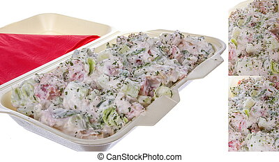 salad portion in multiple shots