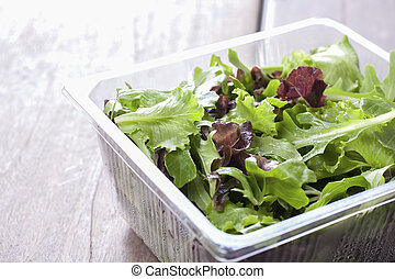 Salad, ready to eat fresh from the supermarket in plastic packaging.