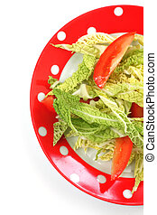 salad savoy cabbage and tomatoes in a  plate