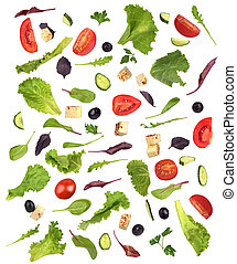 Salad Set with ingredients on a white background