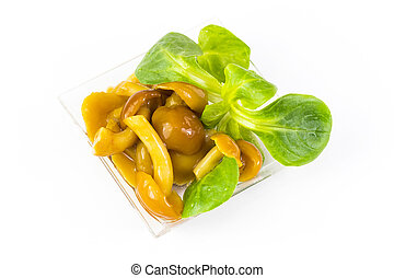 Salad snack from marinated mushrooms in a plastic dish