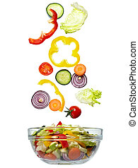 salad vegetable diet food - close up of vegetables on white...
