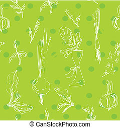 Salad vegetables seamless pattern in green