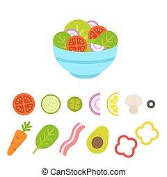 Salad vegetables set