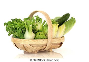 Salad Vegetables - Salad lettuces, fennel, chicory and...