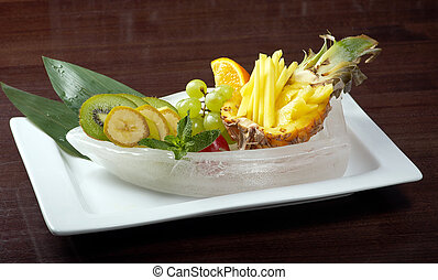 Salad whit tropical fruit and vegetables