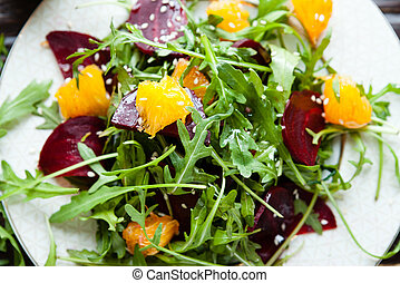 salad with arugula and orange