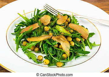 Salad with Arugula, Peas, Jerked Chicken, Mix of Peppers and Veg