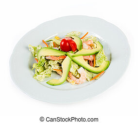 Salad with avocado and prawns