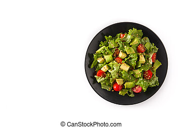 Salad with avocado, lettuce, tomato, flax seeds isolated on white background top view copy space