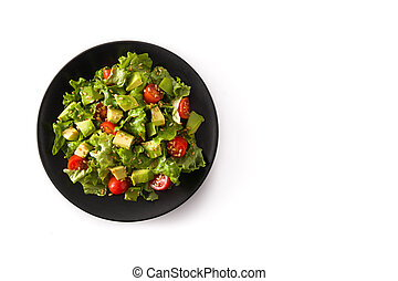 Salad with avocado, lettuce, tomato, flax seeds isolated on white background