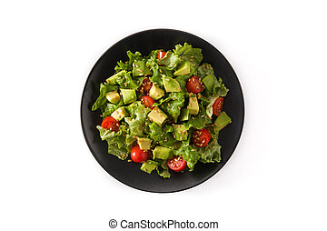 Salad with avocado, lettuce, tomato, flax seeds isolated on white background top view