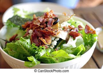 salad with bacon, ceasar salad background