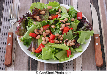 Salad with beans on a plate