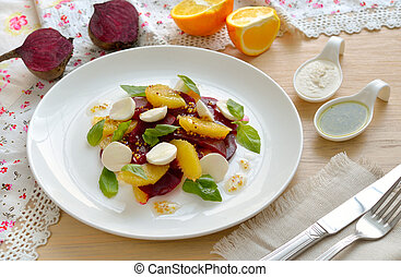 Salad with beet, oranges and a mozzarella