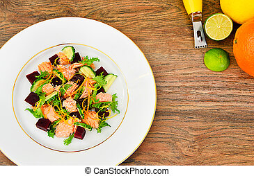 Salad with Beets, Salmon, Cucumber, Arugula, Lemon Zest, Orange,